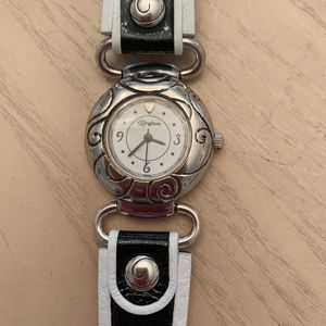 Brighton Accessories - BRIGHTON silver watch with black and white band
